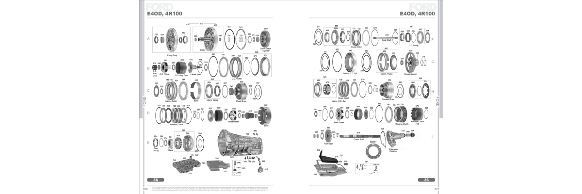 Ford E4OD 4R100 Automatic Transmission Spare Parts