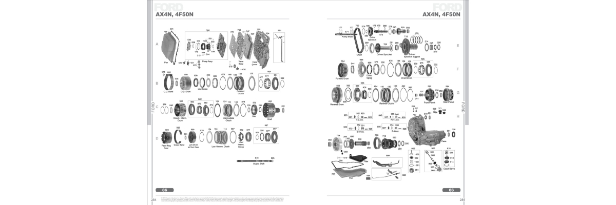 Ford AX4N 4F50N Automatic Transmission Spare Parts