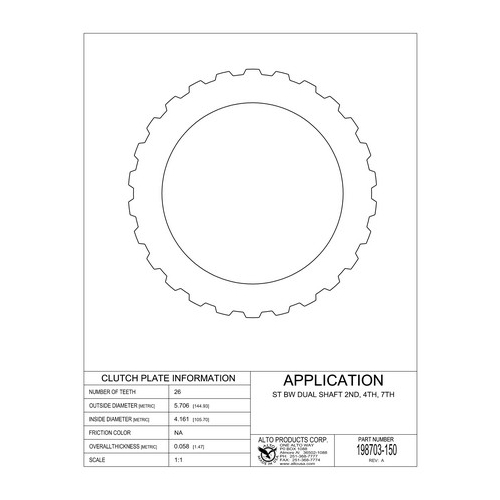 02E DQ250 Steel Clutch Plate 2-4-6 03-up