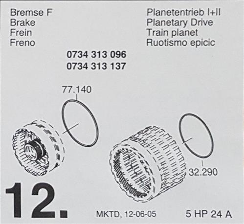 ZF5HP24 A Subkit Nummer 12 in Überholsatz Dichtung...