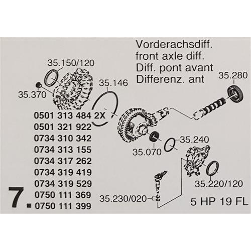 ZF5HP19 FL Subkit Number 7 from Overhaul Kit 1995-up