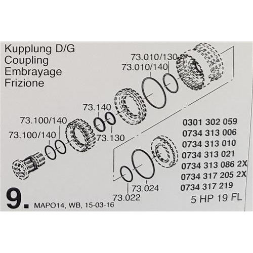 ZF5HP19 FL Subkit Number 9 from Overhaul Kit 1995-up