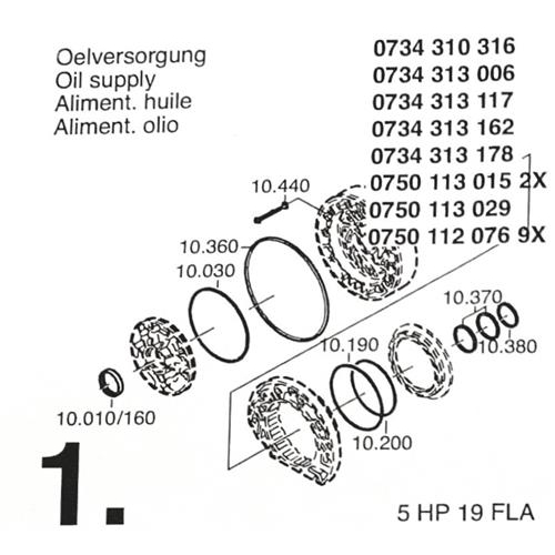 ZF5HP19 FLA Subkit Number 1 from Overhaul Kit 1995-up