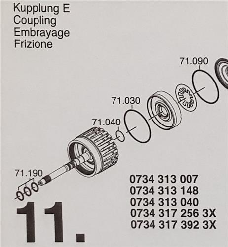 ZF6HP26 A Subkit Nummer 11 aus Überholsatz Dichtung...
