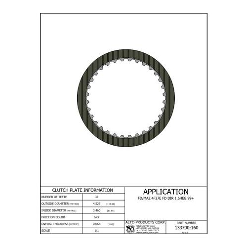 Ford 4F27E Clutch Plate Friction Plate Lined Plate 00-13