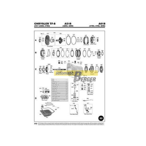 Chrysler A518 46rh 46re A618 47rh 47re 48re Automatic Transmission Exploded View Spare Par