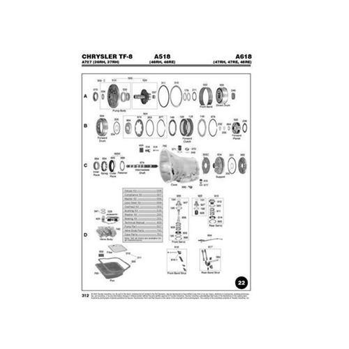 Chrysler A518 46RH 46RE A618 47RH 47RE 48RE Exploded view...