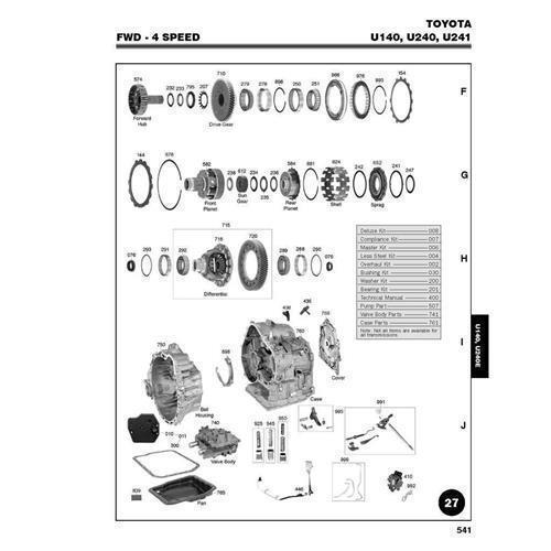 Toyota U140 U240 U241 Exploded view spare part catalog PDF