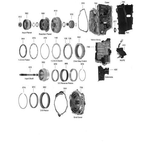 GM 6T70 6T75 Ford 6F50 6F55 Exploded view spare part...
