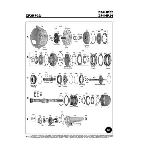 ZF4HP22 ZF4HP24 ZF3HP22 BMW Rover Explosionszeichnung Ersatzteil Katalog PDF
